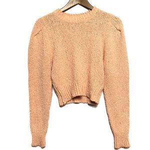 Zara Knit Pastel Orange Chanille Crop Sweater